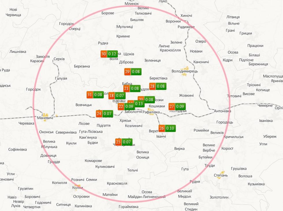 На фото – 30-км зона спостереження РАЕС